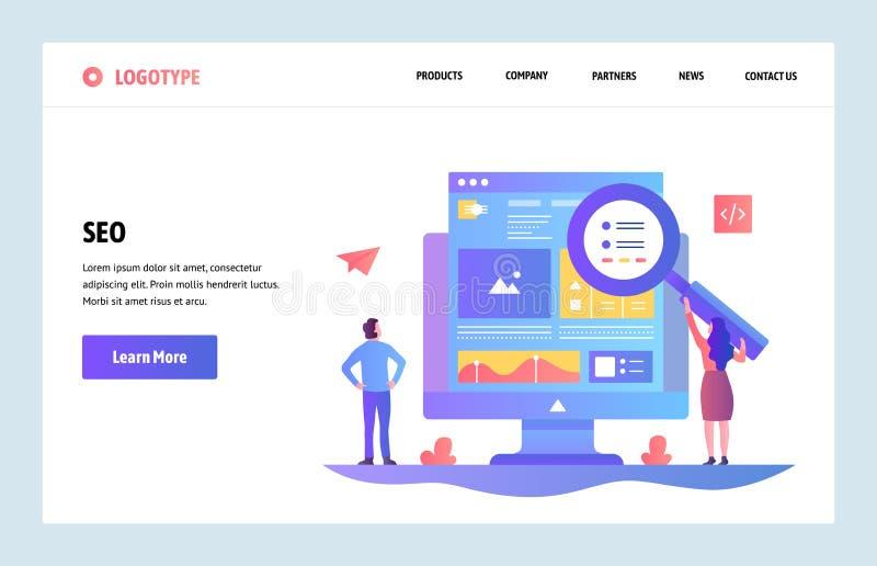 Шаблон дизайна искусства вебсайта вектора линейный Оптимизирование двигателей поиска SEO и маркетинг содержания Концепции страниц иллюстрация вектора
