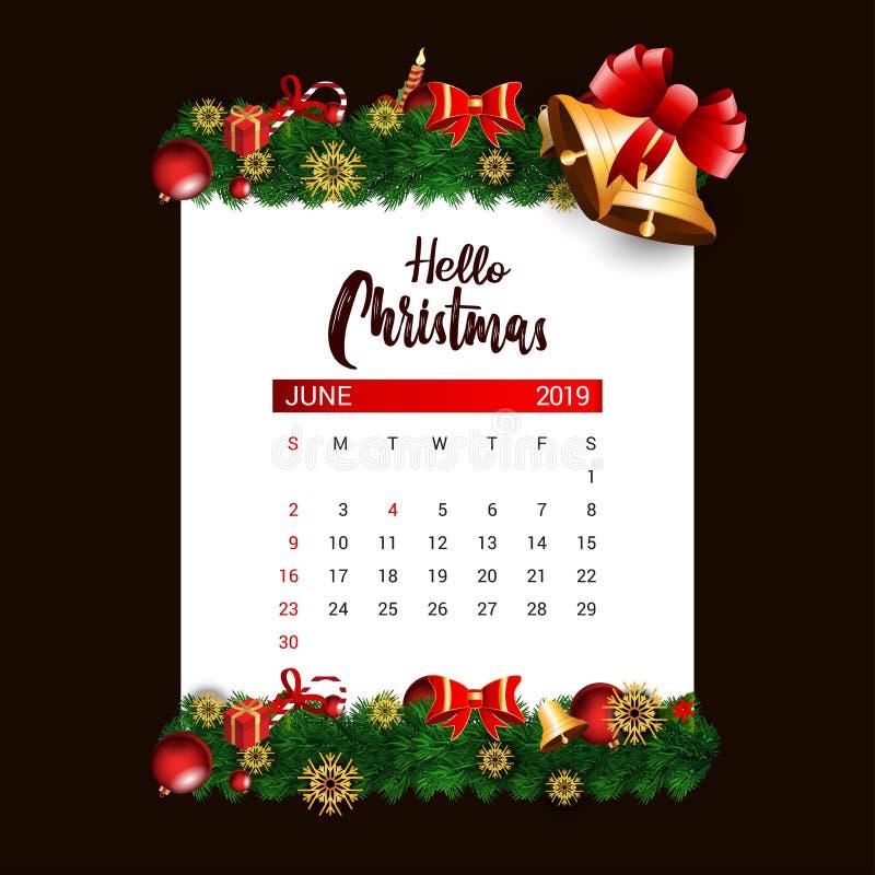 Шаблон дизайна календаря 2019 -го в июне украшения рождества или Нового Года бесплатная иллюстрация