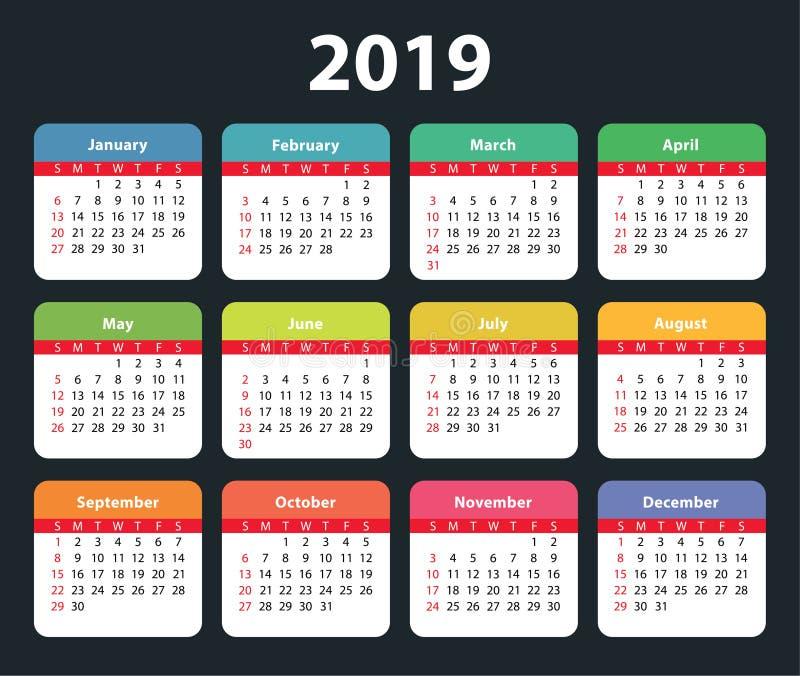 Шаблон дизайна календаря 2019 Цвет, дети, смешные иллюстрация штока