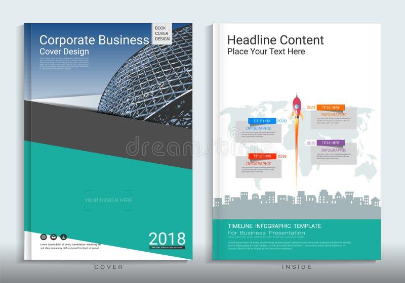 Шаблон дизайна книги крышки корпоративного бизнеса с infographic бесплатная иллюстрация