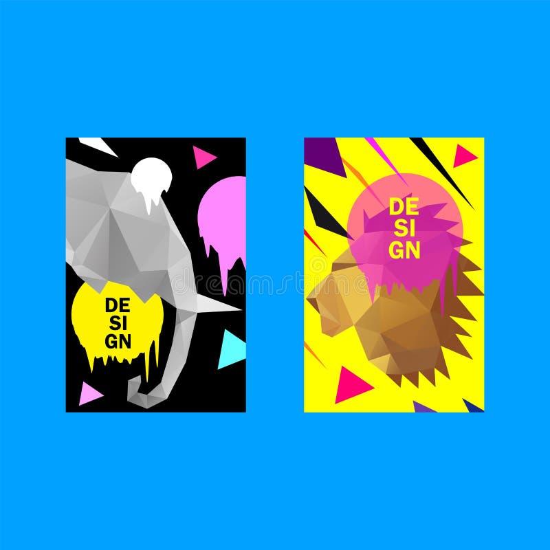 Шаблон дизайна красочной крышки ультрамодный, полигональный дизайн треугольника Набор предпосылок вектора Индустрия дизайна для п иллюстрация штока