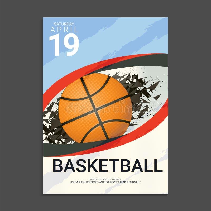 Шаблон дизайна крышки летчика & плаката для турнира или чемпионата баскетбола бесплатная иллюстрация
