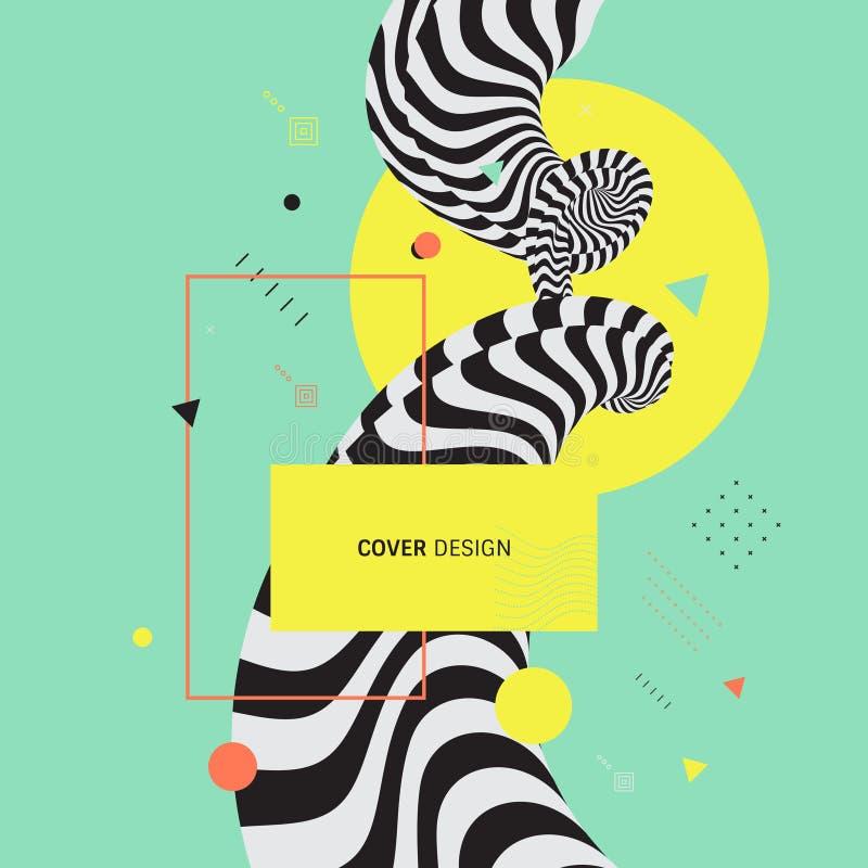 шаблон дизайна крышки 3d Азиатская иллюстрация вектора Картину можно использовать как шаблон для брошюры, годового отчета, журнал иллюстрация вектора