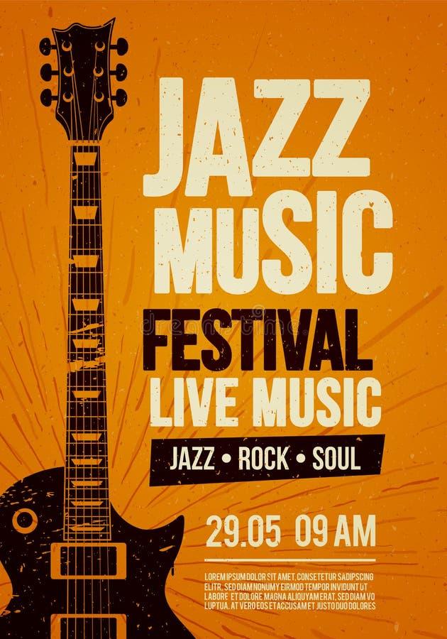 Шаблон дизайна летчика плаката иллюстрации вектора для события живой музыки джазового фестиваля утеса с гитарой в ретро стиле на  иллюстрация штока