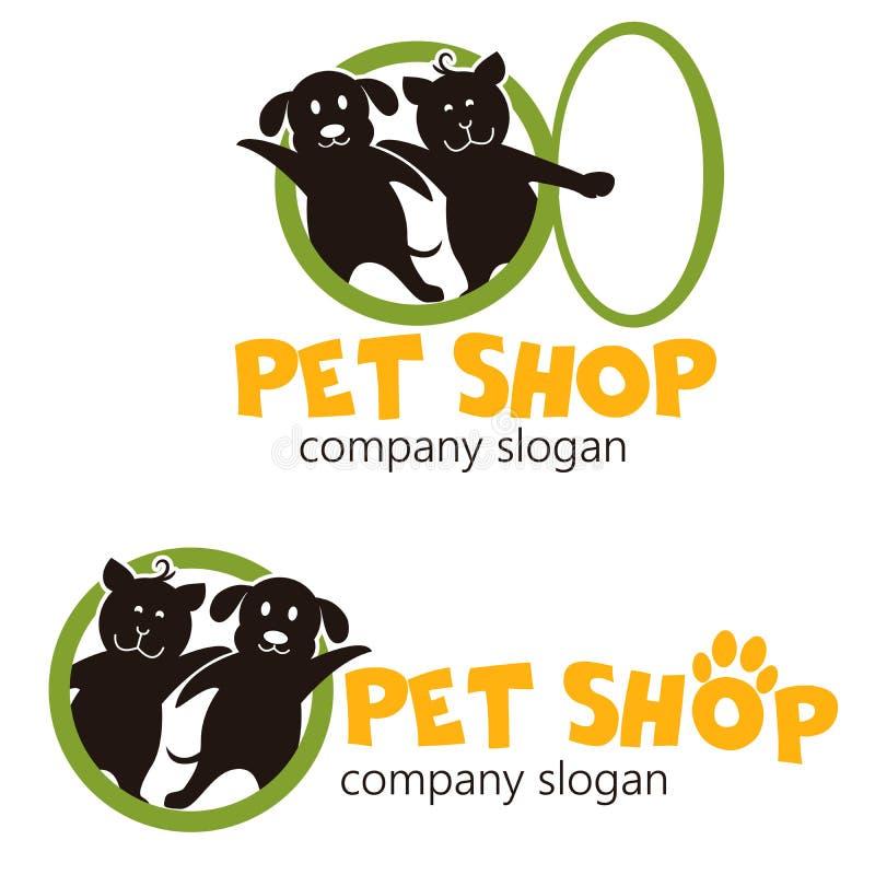Шаблон дизайна логотипа вектора для зоомагазинов, ветеринарных клиник и приютов для животных Смешная иллюстрация логотипа мультфи иллюстрация вектора