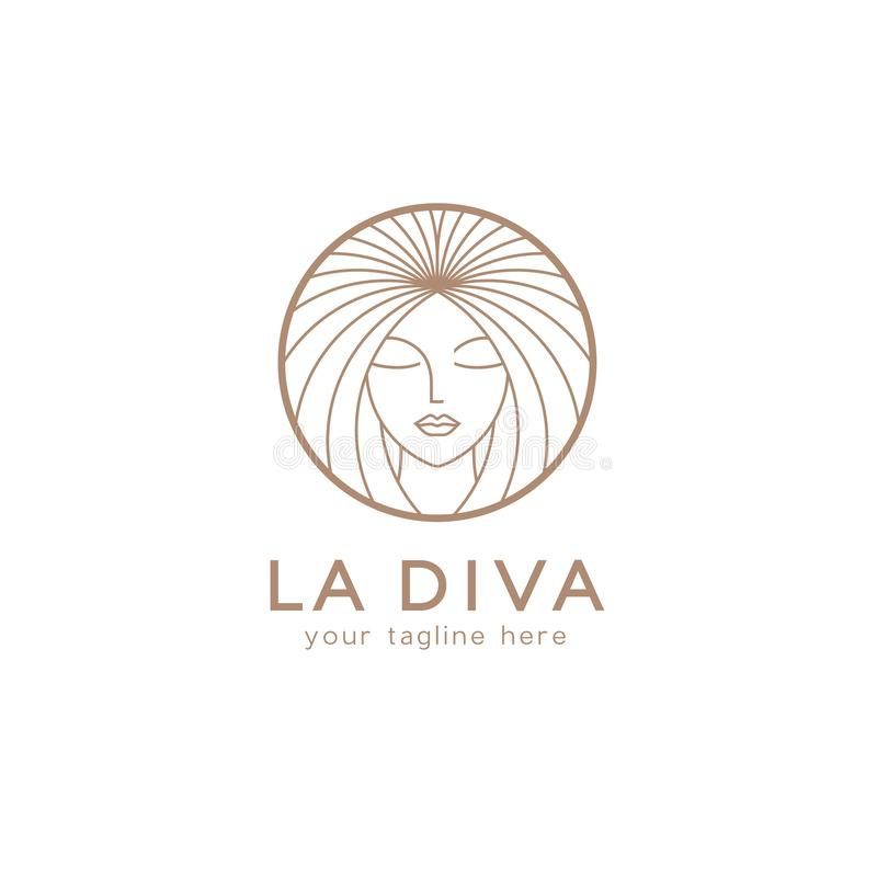 Шаблон дизайна логотипа вектора для салона красоты, парикмахерской, косметики стоковое изображение