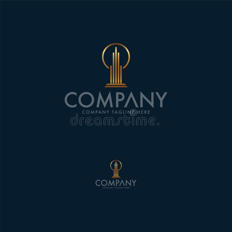 Шаблон дизайна логотипа дела современной недвижимости творческий r бесплатная иллюстрация