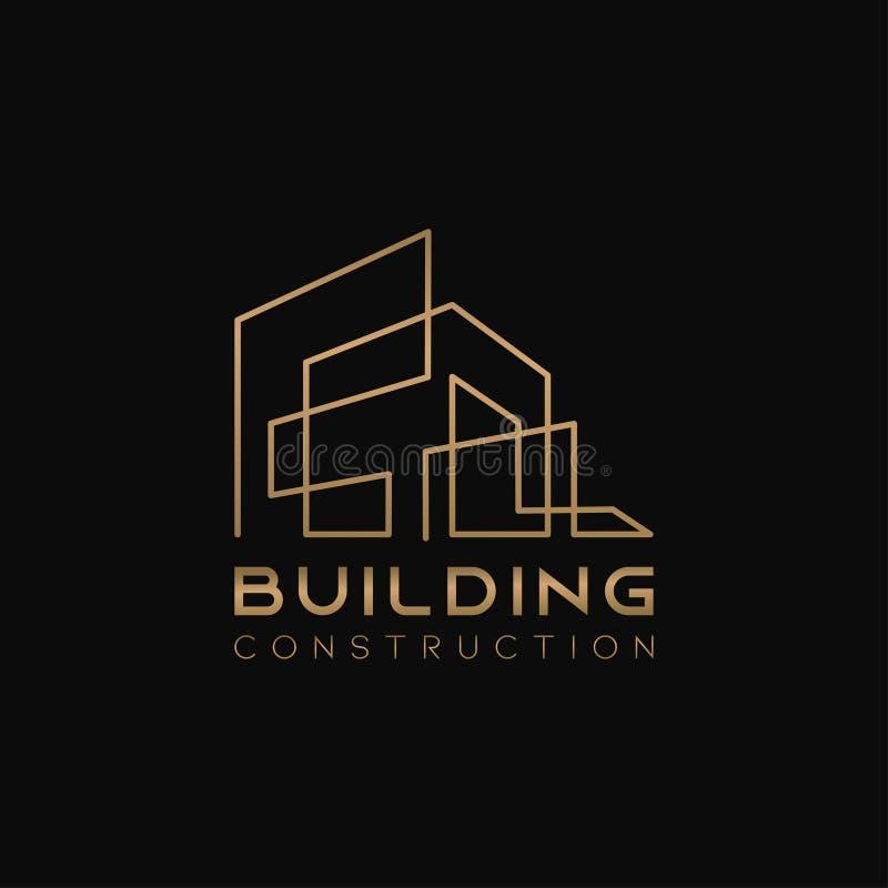 Шаблон дизайна логотипа для компании 'Home Abstract Real Estate Countryside' Построение векторного силуэта с золотыми цветами на  иллюстрация вектора