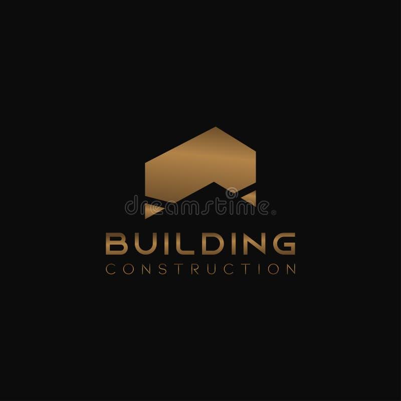 Шаблон дизайна логотипа для компании 'Home Abstract Real Estate Countryside' Строительный векторный силуэт Твердый золотой цвет н бесплатная иллюстрация