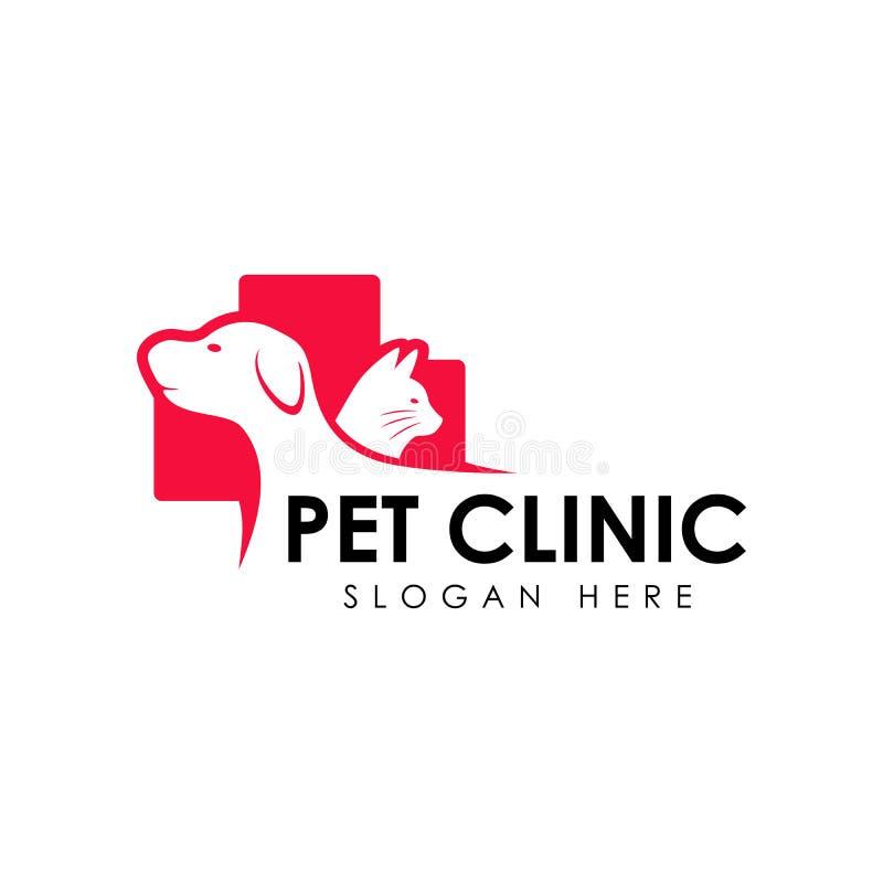 Шаблон дизайна логотипа клиники любимчика Силуэт вектора кота и собаки бесплатная иллюстрация