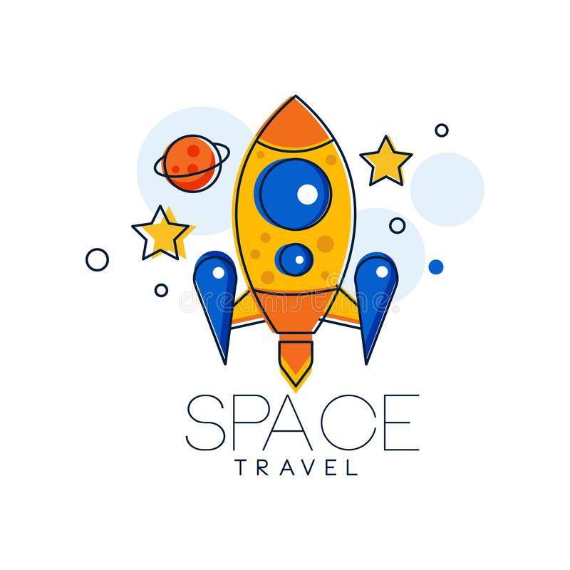 Шаблон дизайна логотипа космического полета, иллюстрация вектора ярлыка освоения космического пространства на белой предпосылке иллюстрация штока