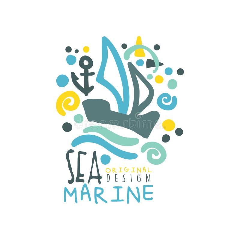 Шаблон дизайна логотипа моря морской первоначально при корабль или яхта плавая на абстрактные волны Творческое нарисованное рукой иллюстрация штока