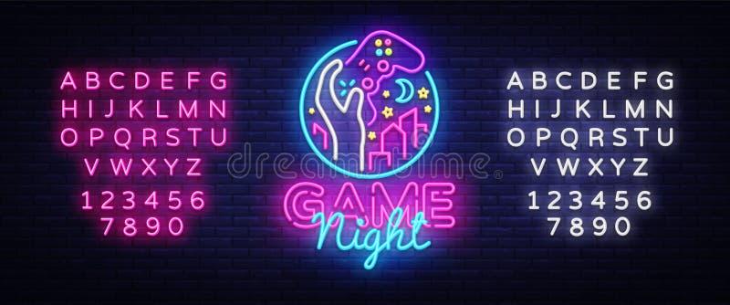 Шаблон дизайна логотипа неоновой вывески ночи игры Логотип ночи игры в неоновом стиле, gamepad в руке, концепции видеоигры, совре иллюстрация вектора