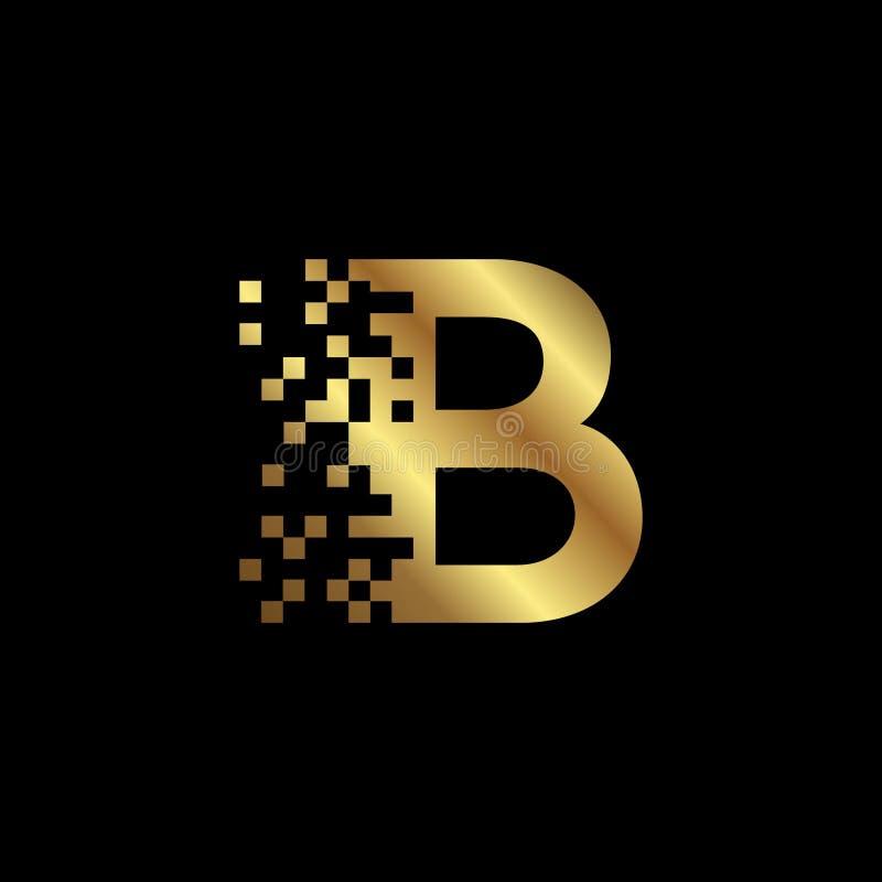 Шаблон дизайна логотипа пиксела золота письма b стоковые изображения rf