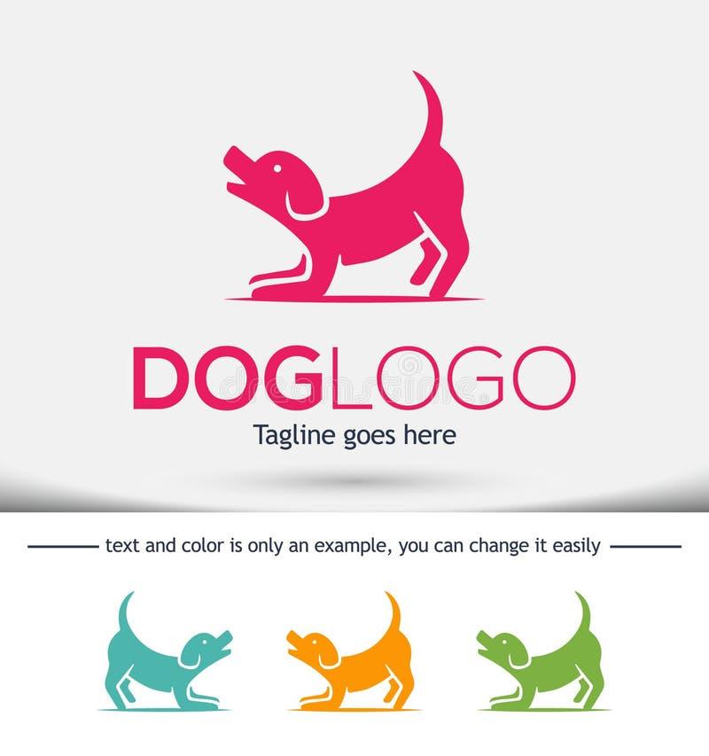 Шаблон дизайна логотипа собаки Иллюстрация вектора, концепция настоящего друга стоковое фото rf