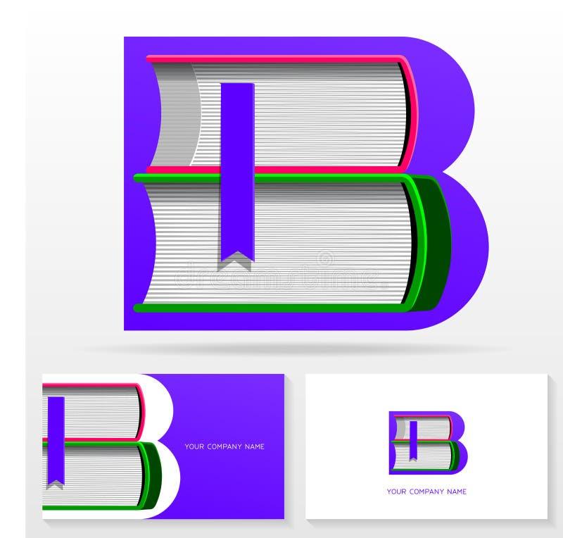 Шаблон дизайна логотипа b письма Письмо b сделало из книг Красочный знак вектора для библиотеки или bookstore иллюстрация вектора