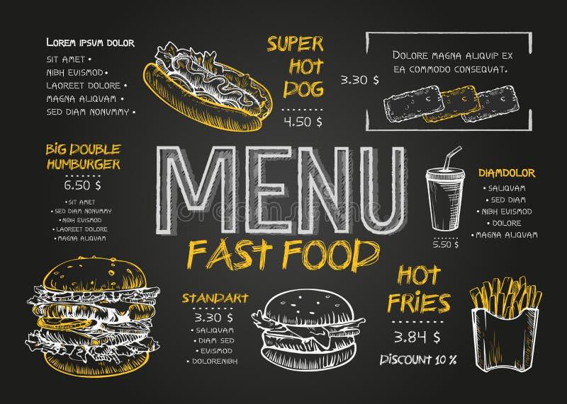 Шаблон дизайна меню еды ресторана с предпосылкой доски Винтажное меню фаст-фуда чертежа мела в эскизе вектора иллюстрация вектора