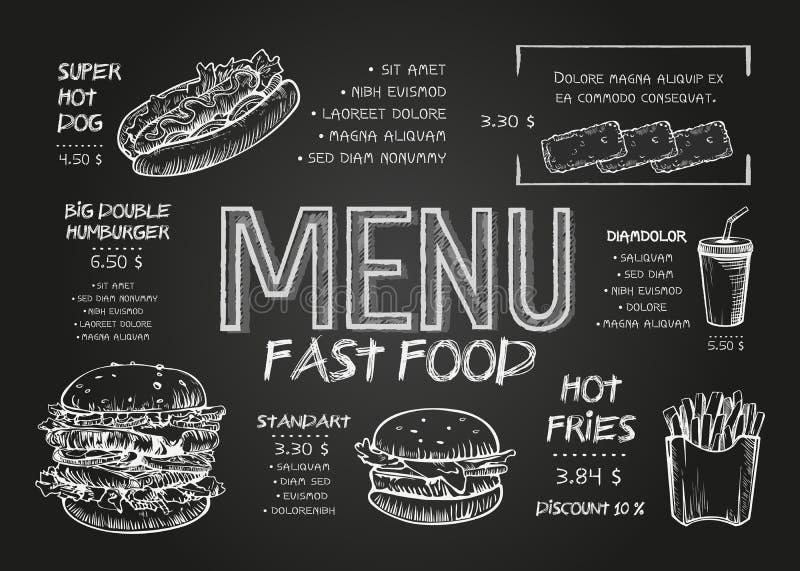 Шаблон дизайна меню еды ресторана с предпосылкой доски Винтажное меню фаст-фуда чертежа мела в эскизе вектора иллюстрация штока