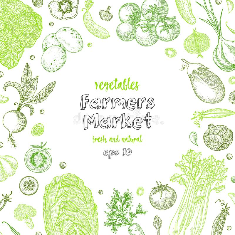 Шаблон дизайна меню рынка фермеров Вегетарианская винтажная предпосылка с естественными органическими продуктами Органическое дет бесплатная иллюстрация