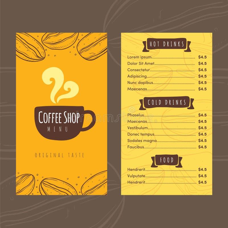 Шаблон дизайна меню цены кофейни вектора бесплатная иллюстрация