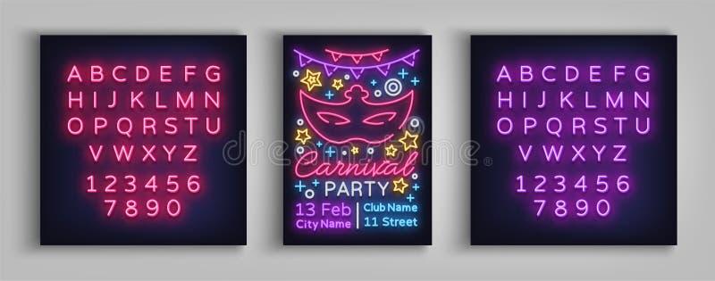 Шаблон дизайна партии масленицы, брошюра, плакат в неоновом стиле Яркое светящее приглашение к партии масленицы иллюстрация вектора