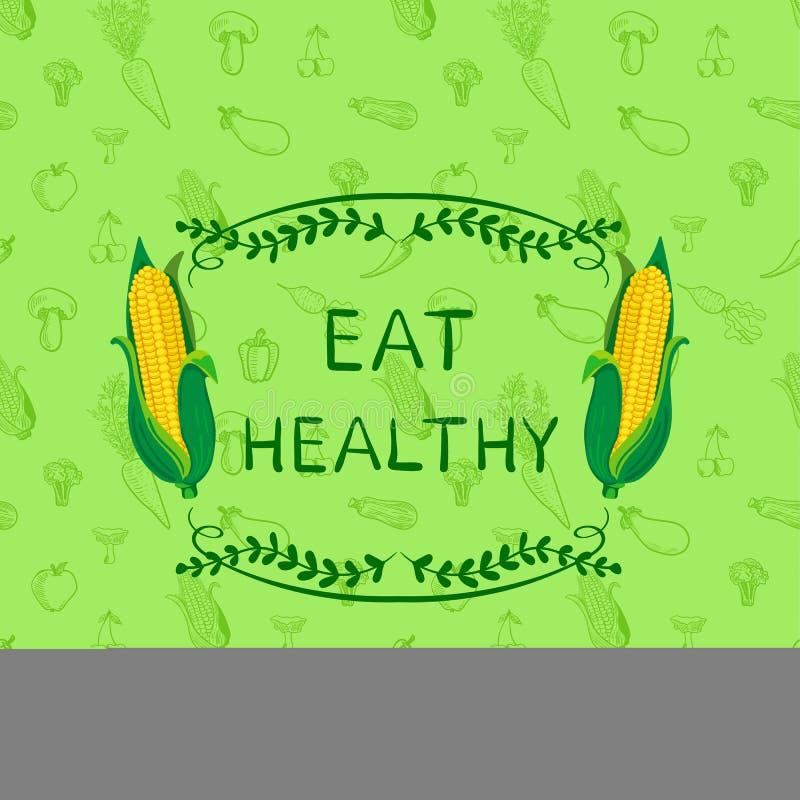 Шаблон дизайна плаката здорового ВЕКТОРА еды мотивационный, картина Doodle нарисованная рукой безшовная с овощами и рамка бесплатная иллюстрация