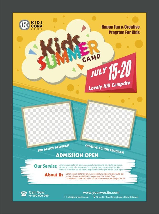 Шаблон дизайна плаката знамени летнего лагеря детей для детей иллюстрация вектора