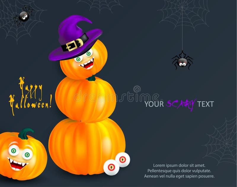 Шаблон дизайна праздника хеллоуина с экземпляр-космосом для вашего текста Счастливая оранжевая тыква с смешной стороной изверга и иллюстрация штока