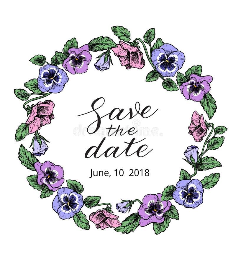 Шаблон дизайна приглашения свадьбы со спасением текст даты и f иллюстрация штока
