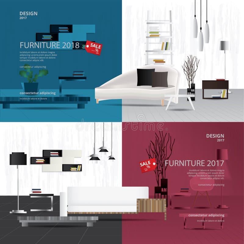 Шаблон дизайна продажи мебели 2 знамен бесплатная иллюстрация
