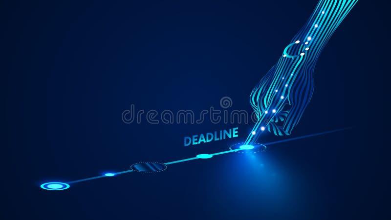 Шаблон дизайна срока Крайние сроки представления Infographics дела в разработчиках электроники или индустрии стиля Рука с иллюстрация вектора