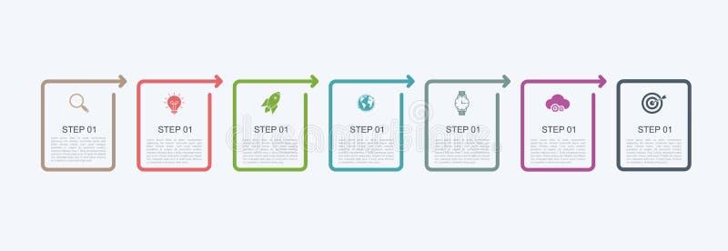 Шаблон дизайна срока infographic с структурой шага Концепция дела с 7 вариантами соединяет или шагает Блок-схема, informat иллюстрация вектора