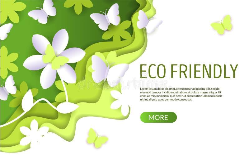Шаблон дизайна страницы посадки вебсайта вектора Eco дружелюбный бесплатная иллюстрация