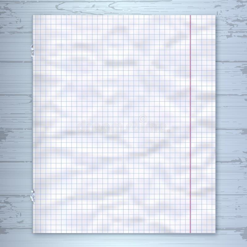 Шаблон дизайна страницы тетради, выровнянная бумажная деревянная предпосылка Модель-макет вектора иллюстрация штока