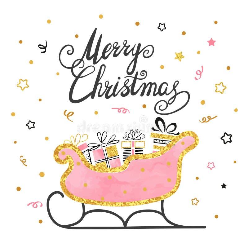 шаблон дизайна с Рождеством Христовым рождественской открытки Сани Санты с подарками иллюстрация вектора