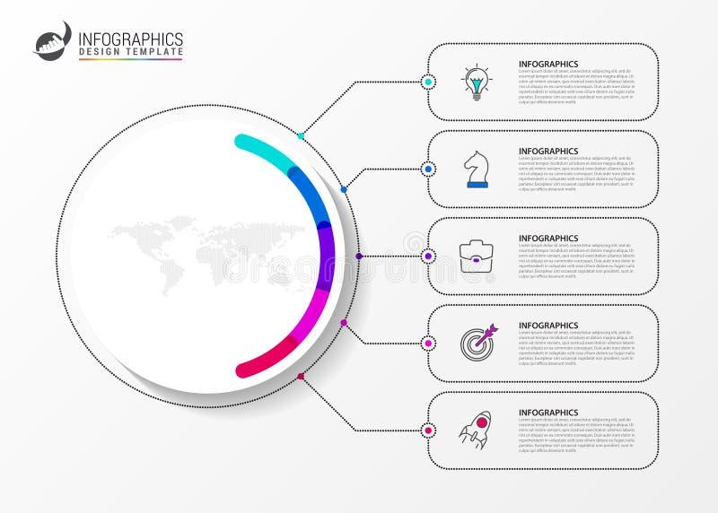 Шаблон дизайна Infographic Творческая концепция с 5 шагами бесплатная иллюстрация