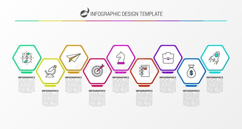Шаблон дизайна Infographic Творческая концепция с 9 шагами бесплатная иллюстрация