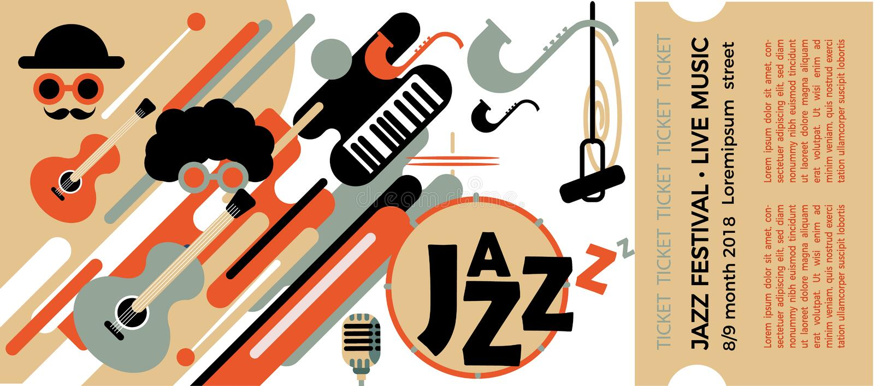 Шаблон для билета джазового фестиваля с музыкальными инструментами Иллюстрация с саксофоном и ключами и гитарой рояля colo иллюстрация штока