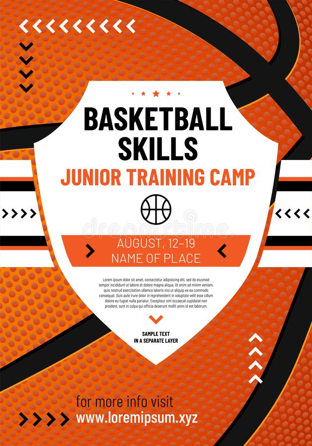 Шаблон для вашего дизайна баскетбола с текстом образца бесплатная иллюстрация