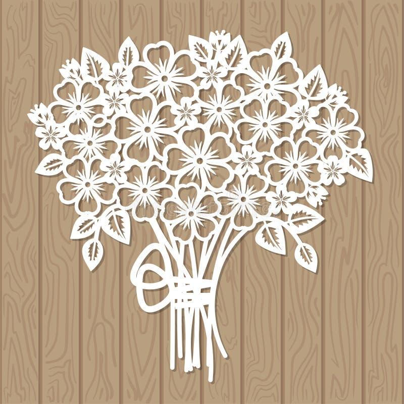 Шаблон для вырезывания лазера Букет цветков иллюстрация штока