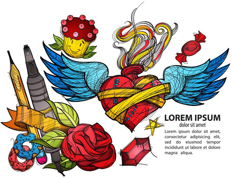 Шаблон для знамени или плаката Конверт, карандаш, donuts, отметка, сердце с крыльями и цветки покрасили иллюстрацию иллюстрация вектора