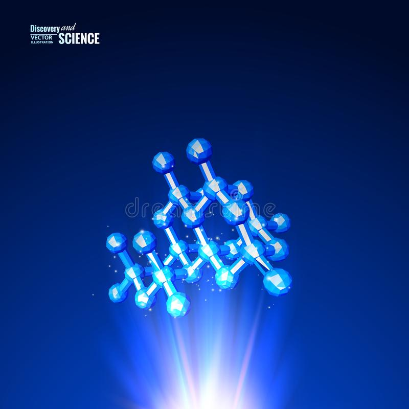 Шаблон для медицинского дизайна Молекула науки атома Предпосылка абстрактного ovr сетки голубая иллюстрация вектора
