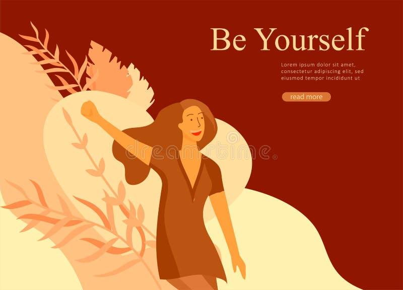 Шаблон для мечт красоты, Международный женский день дизайна интернет-страницы, девушки сила, здоровье, забота тела, здоровая жизн иллюстрация вектора