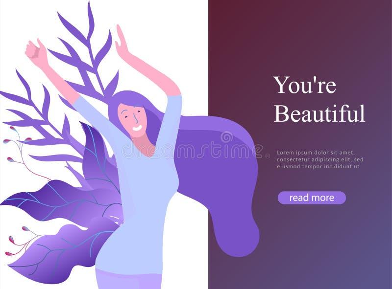 Шаблон для мечт красоты, Международный женский день дизайна интернет-страницы, девушки сила, здоровье, забота тела, здоровая жизн иллюстрация штока