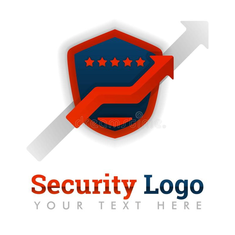 Шаблон для мобильных поставщиков приложений, рынок логотипа безопасностью, оценки, электронная коммерция, вебсайты, интернет, онл иллюстрация штока