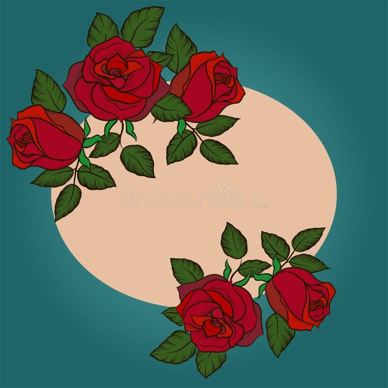 Шаблон для поздравительной открытки, приглашение свадьбы с круглой рамкой и розы иллюстрация вектора