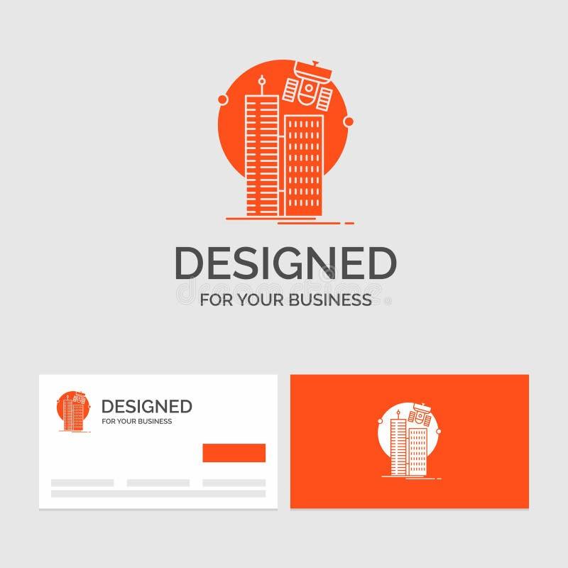 Шаблон для построения, умный город логотипа дела, технология, спутник, корпорация Оранжевые карты посещения с логотипом бренда бесплатная иллюстрация