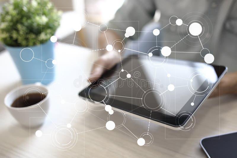Шаблон для текста, предпосылки виртуального экрана с значками Дело, технология интернета и концепция сети иллюстрация вектора