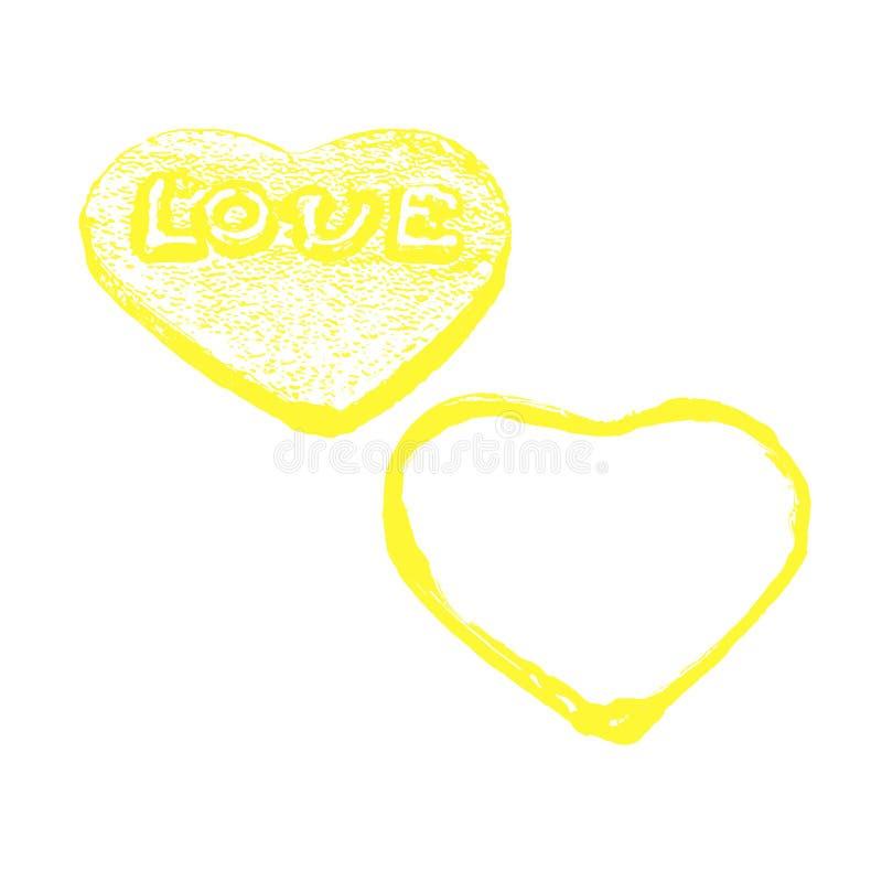 Шаблон дня валентинок при желтые сердца изолированные на белизне стоковая фотография