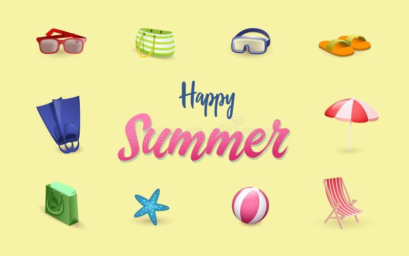 Шаблон знамени вектора аксессуаров лета Набор символов каникул летнего времени Зонтик пляжа мультфильма, deckchair иллюстрация штока